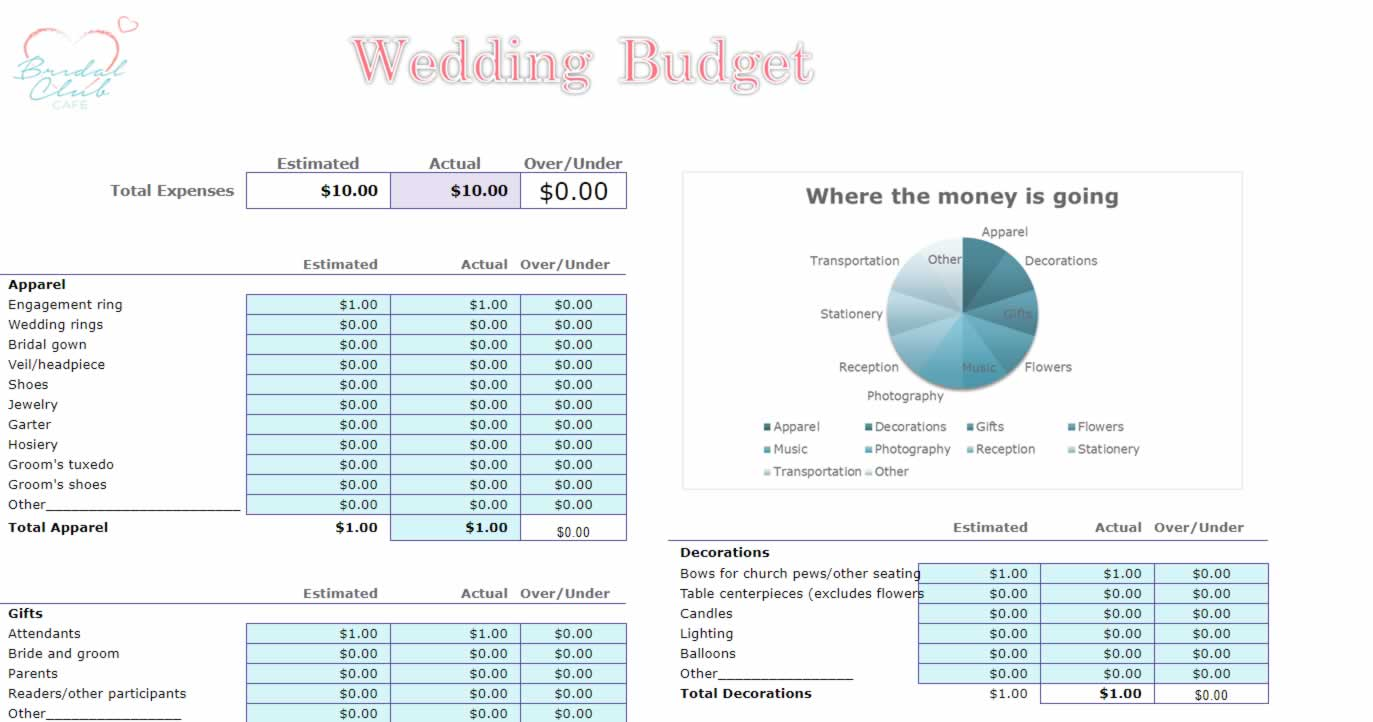 Wedding Budget Planner for Excel